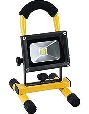 Meister 7490490 7490490-Foco batería (10 W, Chips LED COB Epistar, 600 lúmenes, con Soporte y asa Suave, IP44, protección contra Salpicaduras, para Exteriores)