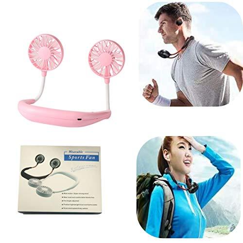 ZHiveA Wireless Neckband Mini Fan,Hand Free Personal Neckband Fan, Hand Free Mini USB Personal Fan (Pink)