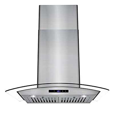 AKDY Wall Mount Stainless Steel Tempered Glass Kitchen Cooking Range Hood with LED Display Touch Control Panel and Baffle Filters