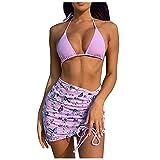 Traje de Baño Cuello Halter de Color Sólido de Tres Piezas Falda Cortos Estampado de Mariposas Bikinis de Vendaje Bañadores con Acolchado Retirable Ropa de Baño Atractivo Ideal para Buceo y Natación