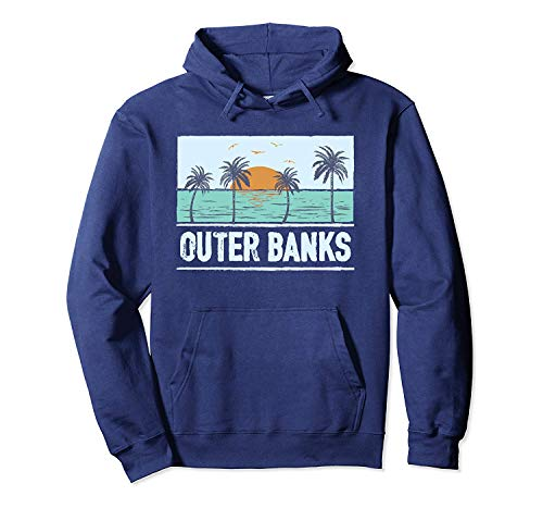 Retro Outer Banks North Carolina Tropical Sunset Beach Pullover Hoodie