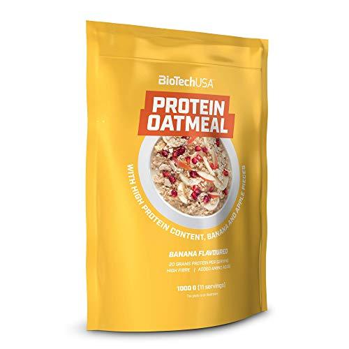BioTechUSA Protein Oatmeal Comida funcional, rico en proteína y fibra de avena, con trozos de frutas secas, 1 kg, Banana
