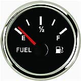 SAMDO Marine Fuel Level Gauge Universal Fuel Meter 52mm 0-190ohm Signal with Backlight 12V/24V Silver