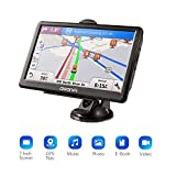 GPS Coche Navegador para Camiones y Coches,Pantalla 7'',Mapa Actualizaciones Gratuitas,ROM 256GB+RAM 8GB(ampliable a 32GB),Aviso Vocal Tráfico y Límite de Velocidad Tiempo Real para 52 Países Europeos