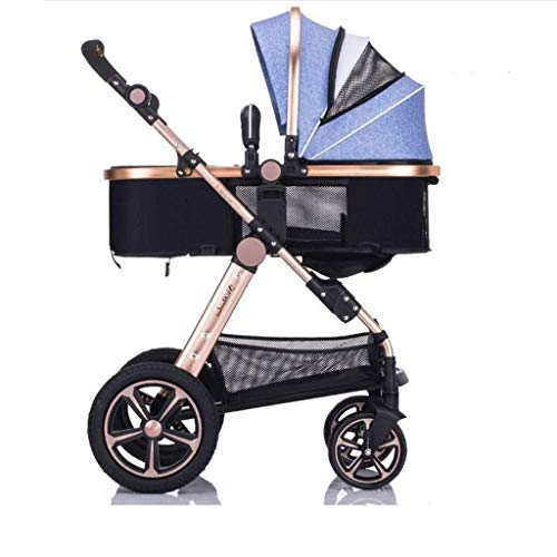 MAOSF Sillas de paseo El cochecito puede sentarse horizontal Mini paraguas plegable portátil de 4 ruedas Carro de choque Newborn Seasons Universal Travel Shade opcional 3 colores (Color : Gray)