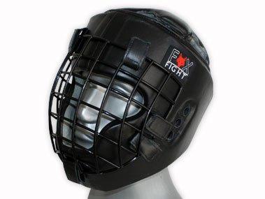 FOX-FIGHT Kopfschutz mit Metallgitterfront für Gesichtsschutz. Headguard aus echtem Leder mit Kopfdeckel. Boxhelm für Kampfsport, MMA, Boxen, Kickboxen & Sparring (schwarz, L/XL)