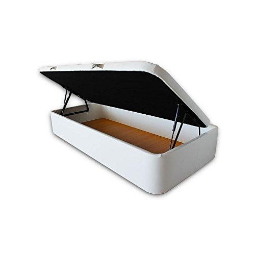 Ventadecolchones - Canapé Abatible Apertura Lateral Serena Gran Capacidad Tapizado en Polipiel Blanco Medidas 105 x 190 cm con Tapa en Tejido 3D