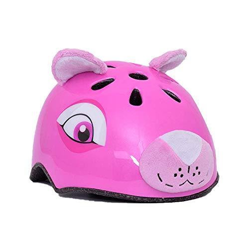 CURVEASSIST Cascos De Protección Infantil para Bicicletas Cascos para Montar Cascos Deportivos Dibujos Animados De Animales Patinaje sobre Ruedas Equipo De Protección León Rosa,Pink-S
