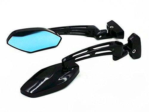 Aluminium Sport Street Bike Rückansicht Racing Side Rückspiegel Spiegel für Ninja ZX 6R 7R 9R 10R YZF R1 R6 GSXR Hayabusa CBR 250 600 F4i 929 954 1000 RR (Schwarz)