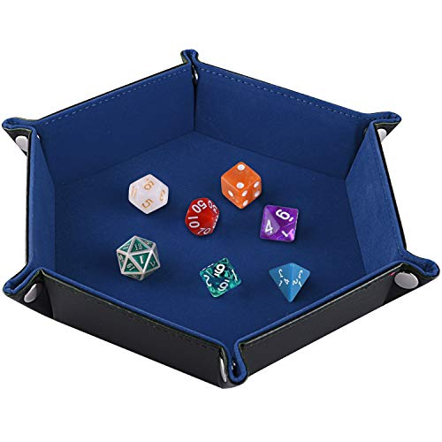 SIQUK Double Sided Dice Tray, Folding Hexagon PU Leather and Dark Blue Velvet Dice Holder for Dungeons and Dragons RPG Dice Gaming D&D and Other Table Games