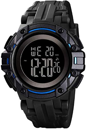 Mens Digital Watches Wikay Mens Sports 5ATM Waterproof Watch with Alarm/Stopwatch/LED Back Light 48mm Large Dial Outdoor Electronic Military Casual Wrist Watches for Men Father as Birthday Gifts