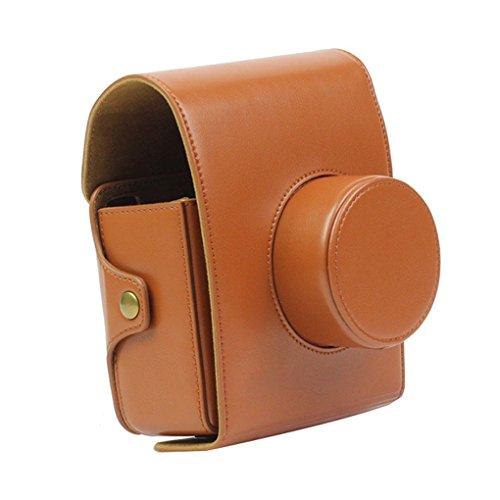 FORUSKY Funda protectora de piel sintética con correa para cámara Instax LOMO Automat, color marrón