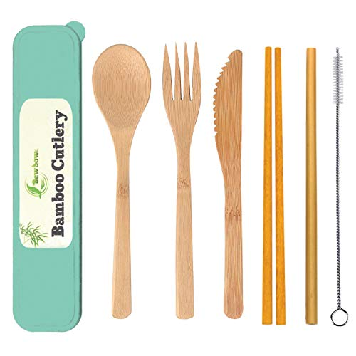 Bamboo Utensils Cutlery Set BEWBOW – Reusable Cutlery Travel Set – Eco-Friendly Wooden Silverware for Kids & Adults – Outdoor Portable Utensils with Case (2)