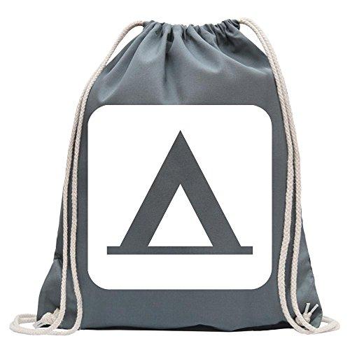 Kiwistar - Zelten Camping Piktogramme Turnbeutel Fun Rucksack Sport Beutel Gymsack Baumwolle mit Ziehgurt
