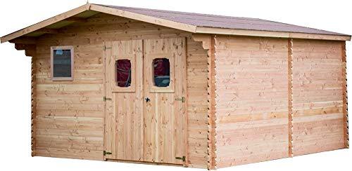 Abri DOMMAR Douglas madriers 28 mm - 23,14 m² - sans Plancher - Toit Double Pente