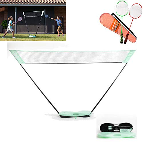 governingsoldiers Tragbares Badminton-Netzhalter Leichtes,Profisport Badminton Tennis Volleyball Netz,mit Stand-Tragetasche 2 Badminton Schläger, für Beach Game Indoor Match