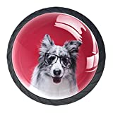 Perillas de tocador negras Perro mono Tiradores de gabinetes de vidrio transparente, redondo, negro, tiradores de cajones para paquete de 4