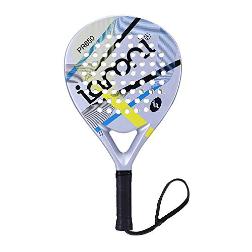 ianoni Tennis Padel Beach Racket Tennis Paddle with Carbon Fiber Face and EVA Memory Foam Core-Used Interchangeably for Paddle?Padel ? and Paddle Tennis?POP Tennis?