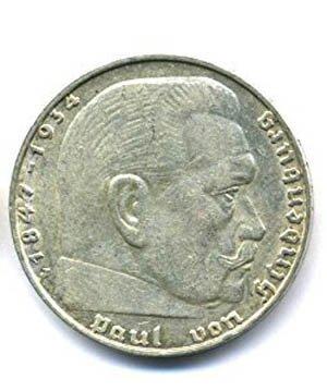 orig. Silbermünze 2 Reichsmark 1939 ss/vz - III Reich - Paul von Hindenburg Silber Münze
