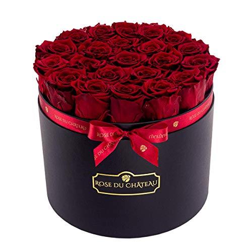 Rose du chateau - Rote konservierte Rosen - Rosenbox XXL - schwarzer Flowerbox - Blumenbox - Echte Rosen die bis zu 2 Jahren blhen Blumen Blumendeko