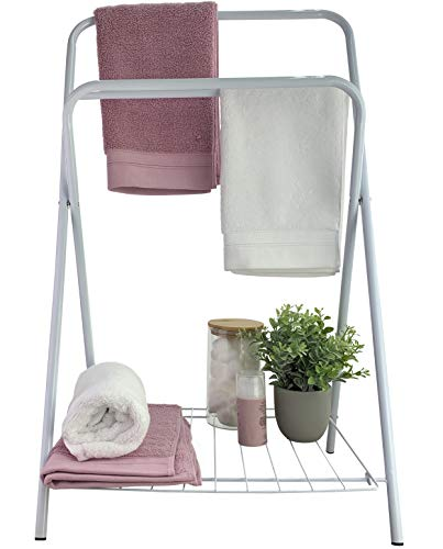 Folding Drying Rack - Towels & Hand Towels: Bathroom Organizer With Shelf & 2 Towel Bars - More Storage & Towel Drying For Bathroom/Guest Bedroom. Perfect For Hot Tubs, Pools or Baby Blankets