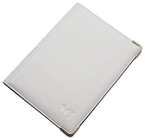 Exclusives Ausweisetui/Ausweishülle/Kreditkartenetui mit Schutzecken aus Metall 10 Fächer MJ-Design-Germany Schwarz Made in EU (Design 4 / Weiß)
