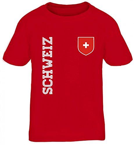 Swiss Fußball WM Fanshirt Gruppen Kinder T-Shirt Rundhals Mädchen Jungen Fan Trikot Schweiz, Größe: 122/128,rot