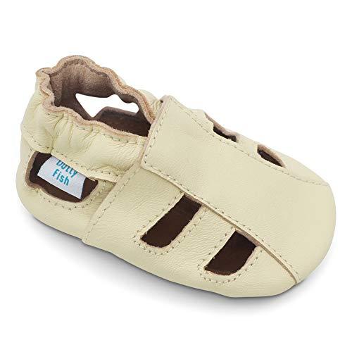 Dotty Fish Zapatos de Cuero Suave para bebés. Sandalias Beige para niños y niñas. 12-18 Meses (21 EU)