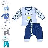 Baby Sweets 2er Baby-Set mit Hose & Shirt für Jungen/Baby-Erstausstattung in Blau mit Prinzenmotiv/Baby-Kleidung aus Baumwolle für Neugeborene & Kleinkinder/Größe: 3 Monate (62)