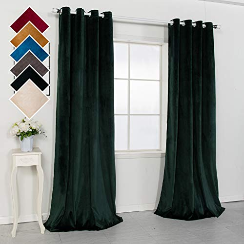 SHOWBEAN Luxury Green Velvet Curtains Super Soft Panels Set of 2 Window Long Drapes 95%-Blackout for Bedroom Living Dining Room Darkening with Stainless Steel Grommets 52 x 95 Inches