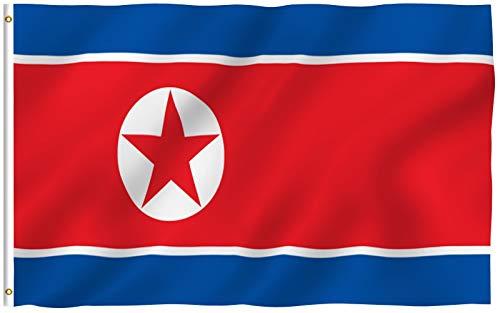 Anley Fly Breeze 90 x 150 cm Bandera Corea del Norte - Colores Vivos y Resistentes a Rayos UVA - Bordes Reforzados con Lona y Doble Costura - N Corea Nacional Banderas Poliéster con Ojales de Latón