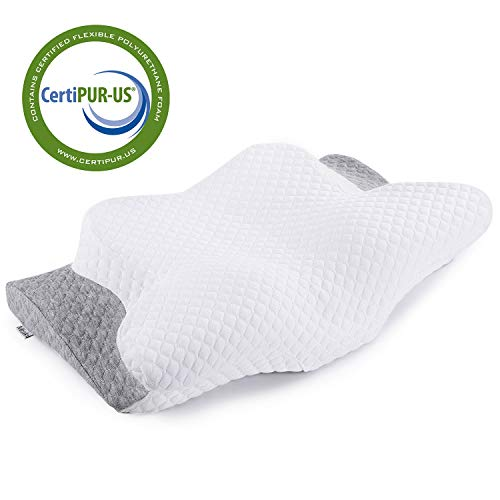 Memory Foam Pillow Misiki Orthopedic Pillow, Contour Pillows for Neck Pain, Cervical Support Pillow for Sleeping, Ergonomic Pillow for Side Sleepers, Back and Stomach Sleep