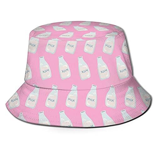 DJNGN Preciosa Botella de Leche Rosada Unisex Casual Bucket Sun Hat Gorra de Pescador para Pesca Senderismo Camping