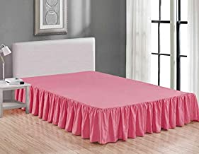Sheets & Beyond Wrap Around Solid Microfiber Luxury Hotel Quality Fabric Bedroom Gathered Ruffled Bedding Bed Skirt 14 Inch Drop (Full, Pink)