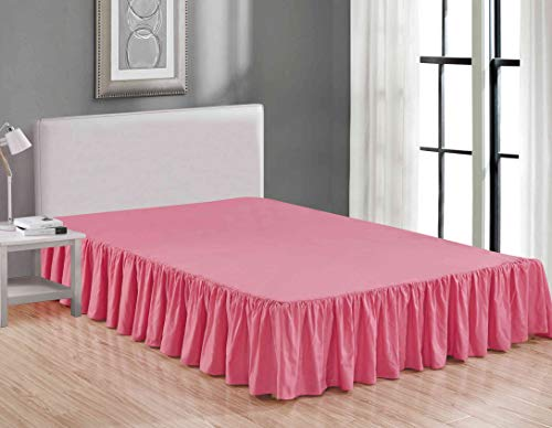 Sheets & Beyond Wrap Around Solid Luxury Hotel Quality Fabric Bedroom Dust Ruffle Wrinkle and Fade Resistant Gathered Bed Skirt 14 Inch Drop (Twin, Pink)