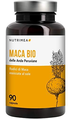 Maca Peruviana Biologica • 90 Capsule Vegetali Pura Radice Maca delle Ande 1500 mg al Giorno • Integratore Naturale Tonicità e Energia per Uomo e Donna