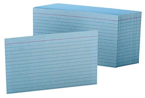 "Oxford Ruled Color Index Cards, 4"" x 6"", Blue, 100 Per Pack (7421 BLU)"