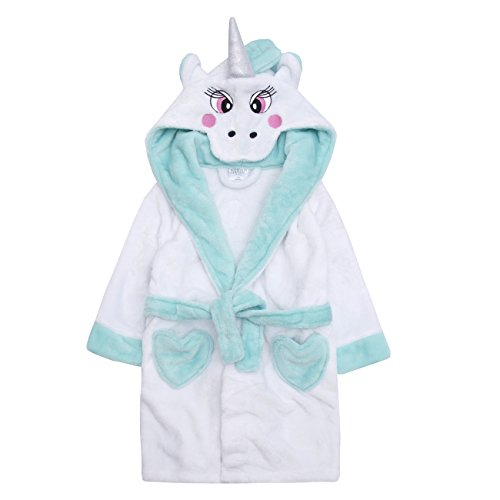MiniKidz Infant Girls Novelty Hooded Flannel Fleece Unicorn Dressing Robe Aqua 5-6