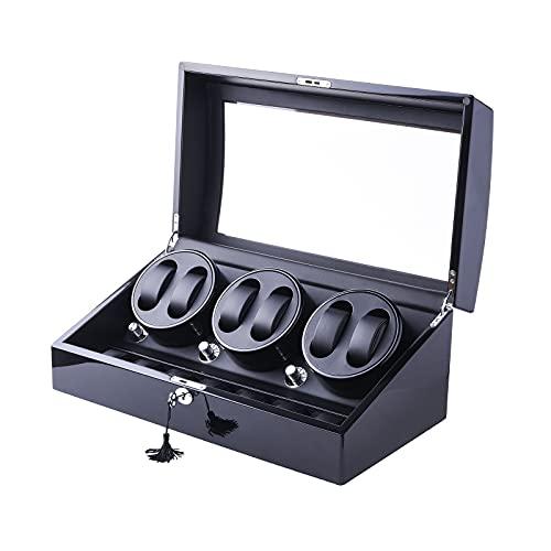 XTELARY Automatischer Luxus Uhrenbeweger 6+ 7Aufbewahrungstasche aus Leder (Holzgehäuse + Lederkissen + Klavierlack + Gehärtetes Glas)