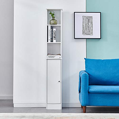 Wood Living Room Tall Bookcase White Corner, Floor-standing Slim Storage Cupboard Sideboard Cabinet with Door and 3 Shelves Bathroom Unit Storage Display Cabinet Shelf for Small Narrow Space