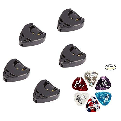 WANDIC Gitarren Plektren, 10 Stück 0.71mm stilvolles buntes Celluloid Plektren und 5 Stück Pick Halter für elektrische, akustische oder Bassgitarre