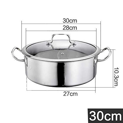 ZTBXQ Haushaltswerkzeuge SetNonStick Pot Hot Pot Kocher Ententopf Küche Auflauf Suppe Kochwerkzeug 2 Grid Two Taste Edelstahl Hot Pot mit Glasdeckel