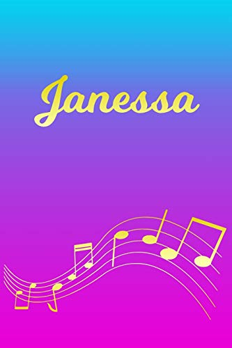 Janessa: Sheet Music Note Manuscript Notebook Paper – Pink Blue Gold Personalized Letter J Initial Custom First Name Cover – Musician Composer … Notepad Notation Guide – Compose Write Songs