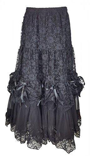 Dark Dreams Gothic Western Steampunk Braut viktorianischer Rock gerafft Tüllrock Tüll - Rock Elvira, Farbe:schwarz, Größe:Freesize