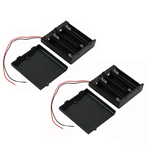 Ogrmar On/Off Switch 4 x 1.5V AA Battery Case Holder Leads Black w Cap 2Pcs