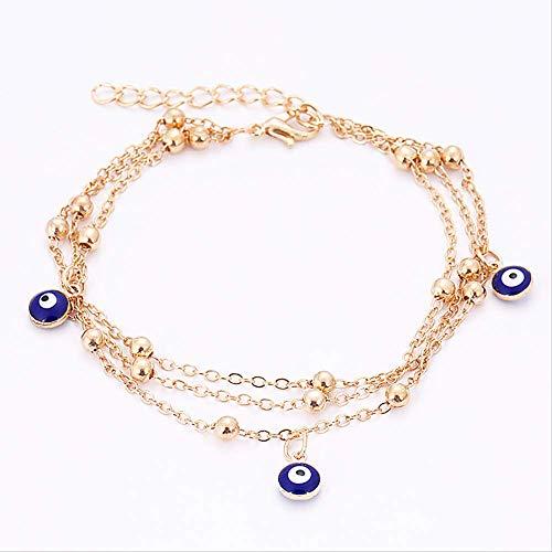 Nobrand Metall Armbänder Fußkettchen Für Frauen Gold Farbe Blau Böses Auge Hamsa Hand Shell Türkischen Schmuck Armreif Boho Hochzeit Armbänder