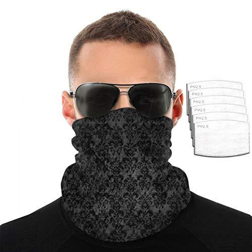 Unisex Neck Gaiter Windproof Black Elegant Ornaments Texture Lightweight Half Mask Scarf Fishing, Hiking, Running, Cycling, Outdoors, Moisture Wicking Breathable Bandanas Headband