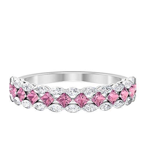 Anillo de peridoto creado en laboratorio de 2 mm, corte princesa, 3 x 1,5 mm, talla marquesa, anillo de diamante de talla marquesa, 14K Oro blanco, peridoto creado en laboratorio, Size:US 49