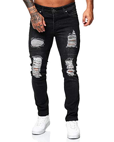 Bmeigo Zerrissene Jeans Herren Skinny Slim Fit Stretch Destroyed Distressed Denim Biker Jeans Klassische Designerhose Schwarz