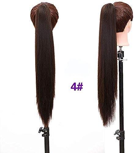 24 '' Longue Queue de cheval Synthétique Noire Longue Faux Naturel Faux Hairpieces Femmes Coiffures Résistant à La Chaleur Faux 24 pouces   4
